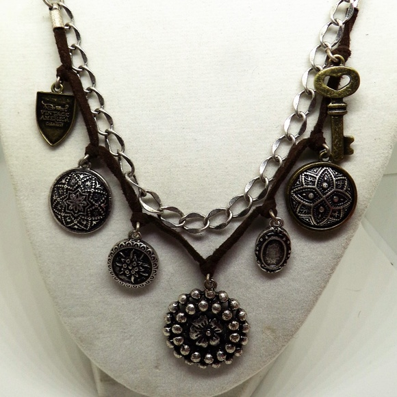 975e8e892c2ee Nine West Vintage America Charms Leather Necklace